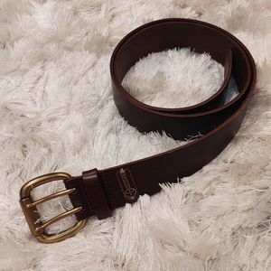 Fossil Brown Leather Belt Gold Tone Hardware